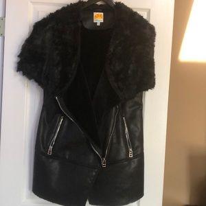 Women's faux leather and faux fur vest
